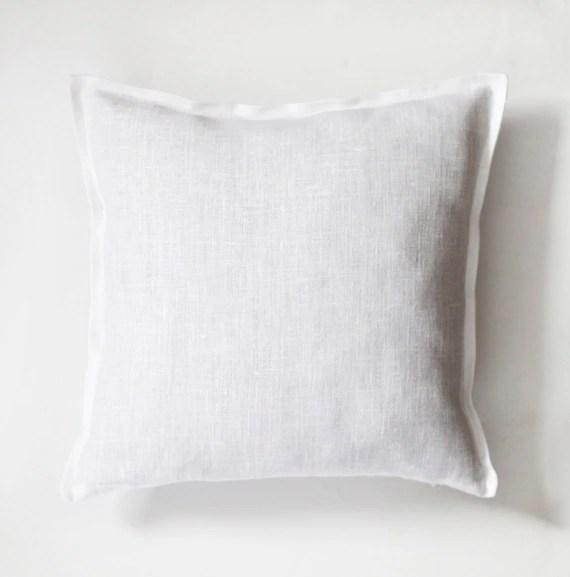 White linen pillow case  natural fabric pillow cover