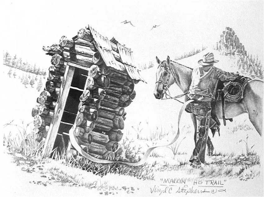 Items Similar To Markin His Trail Outhouse Drawing Of A