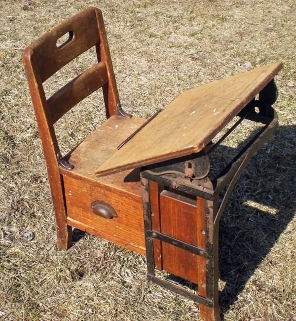 Antique Child' School Desk Vintage Childrens Kids