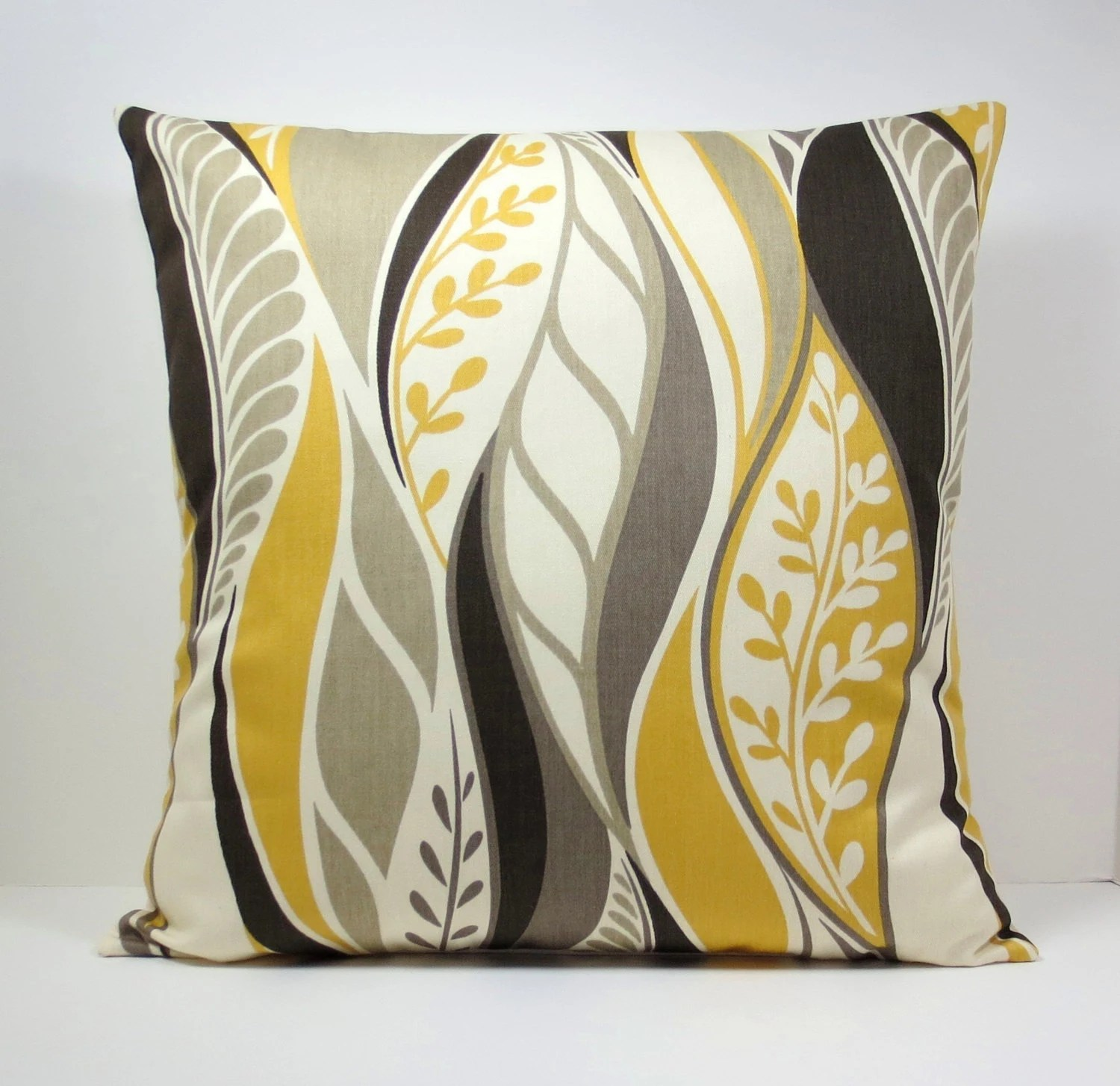Mustard Yellow Gold Abstract Leaves decorative throw by
