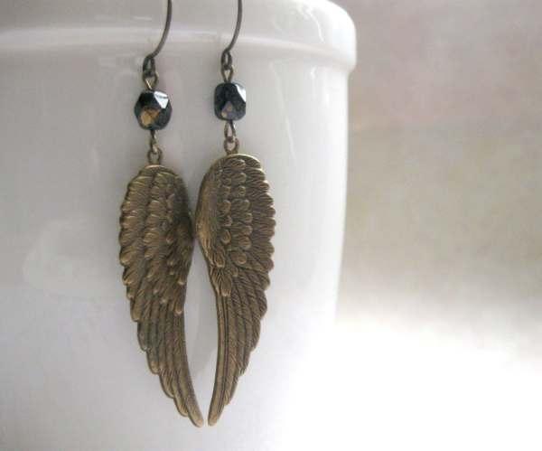 Angel Wing Earrings Brass Long Dangles Feather