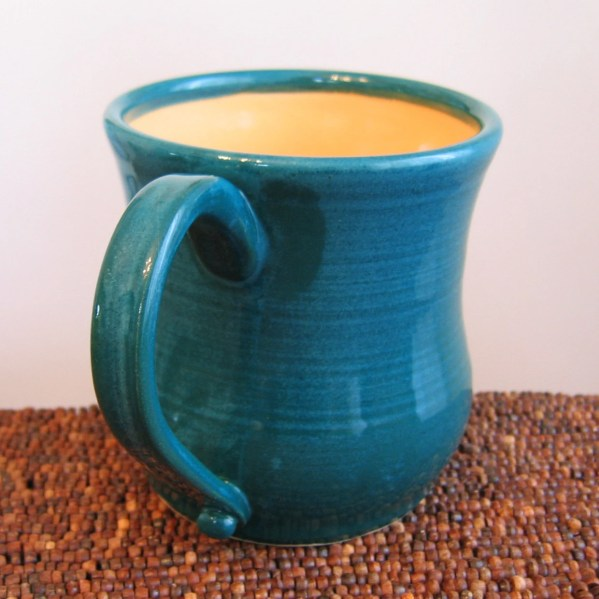 Pottery Coffee Mug 16 oz Large Stoneware Cup in Peacock and