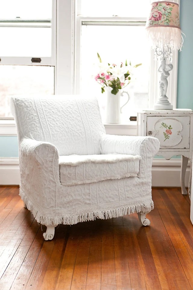 antique chair white vintage matelasse bedspread shabby chic