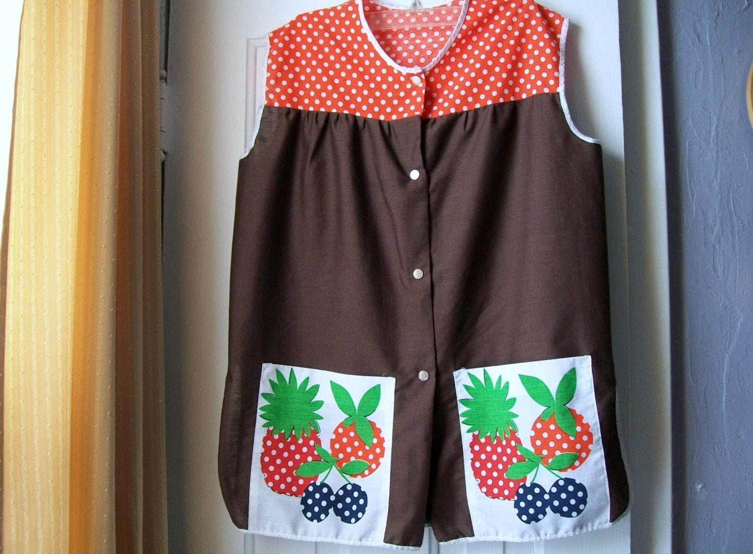 Vintage Full Apron Smock Apron Brown And Orange Snap Up Front