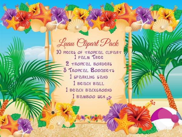 beach luau clipart pack