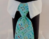 Light Blue Fish Bones Business Cat Tie and Collar by SewSmooth