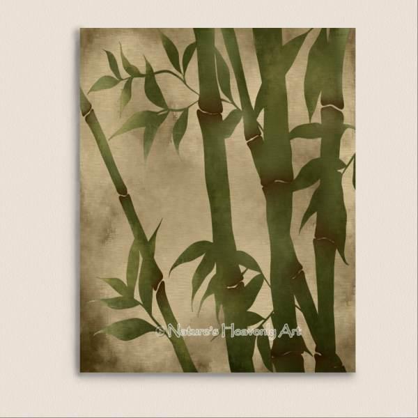 Bamboo Wall Art Print 8 X 10 Green Grass Asian Home Decor