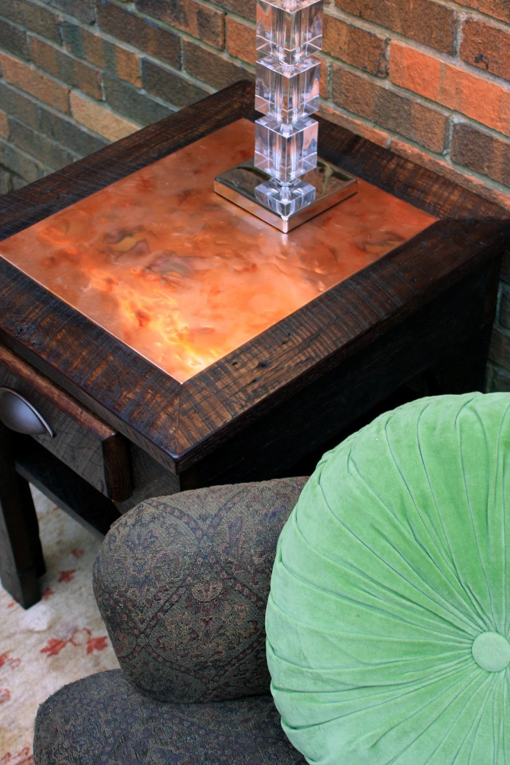 Side Table Bedside Table Distressed Copper Inlay Reclaimed