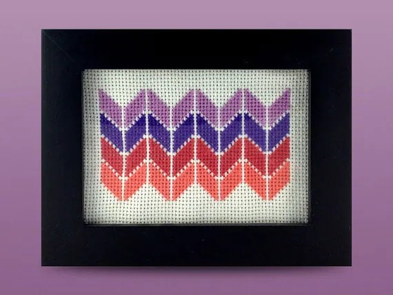 Framed Purple and Red Chevron Cross Stitch