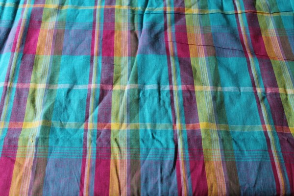 Bright Plaid Fabric Woven Turquoise Blue Pink And Yellow