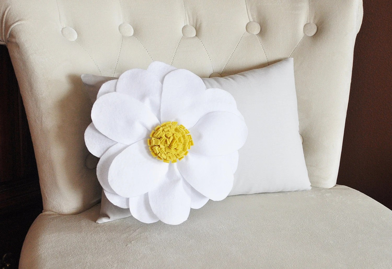 Decorative Pillow White Daisy Flower on Light Gray Lumbar
