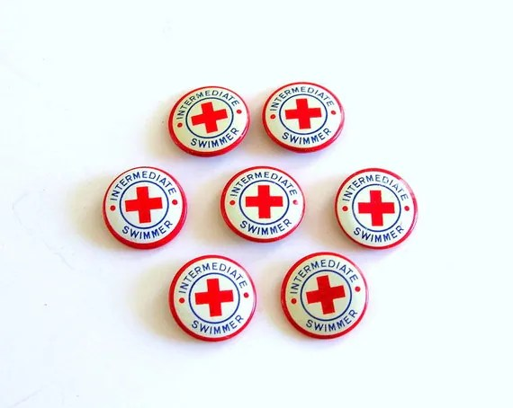 Red Cross Pin Swimming Lessons 7 Vintage Pinback Button Red White Blue Instant Collection Summer Fun