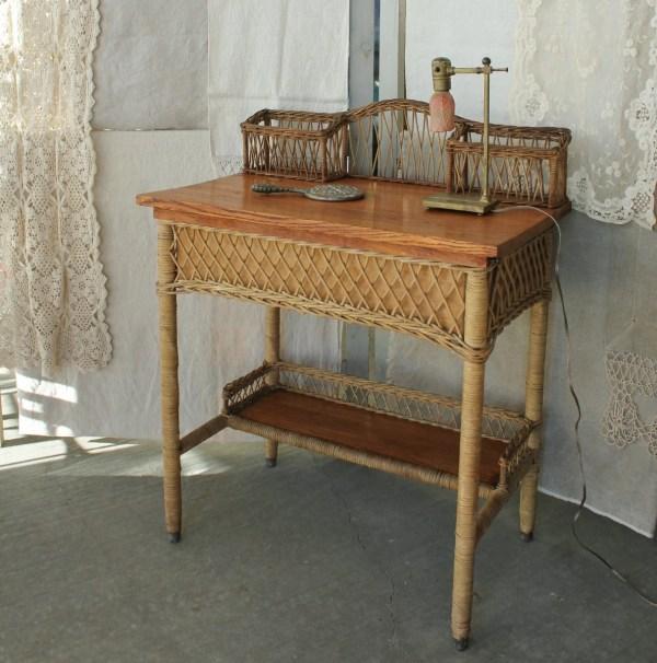 Antique Heywood Wakefield Oak And Wicker Desk Dressing Table