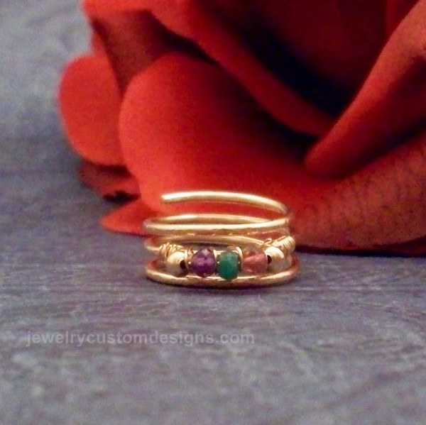 14k Rose Gold Filled Mother' Ring Family