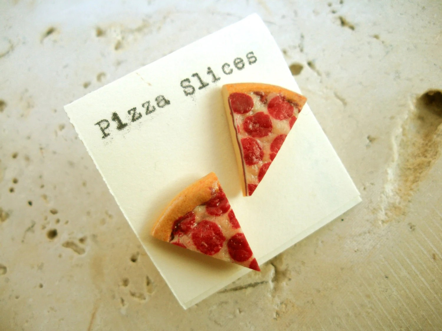 Miniature PIZZA slice Earrings - littlecaloriegallery