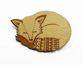 Wooden Fox Brooch - laylaamber