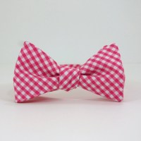 Hot Pink Gingham Bow Tie by SteepleBayDesigns on Etsy