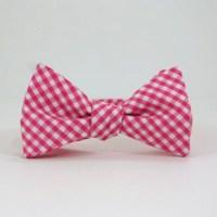 Hot Pink Gingham Bow Tie by SteepleBayDesigns on Etsy