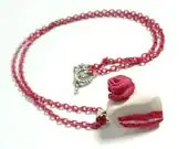 Slice of Pink Cake Miniature Polymer Clay Necklace - Glamour365
