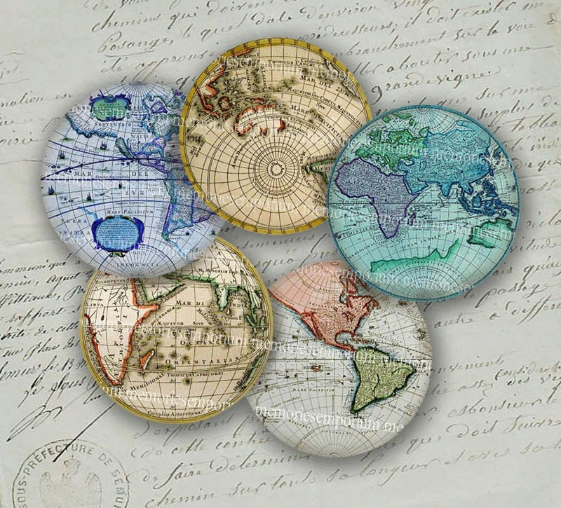 Antique World Globe Maps Earth Continents Hemispheres Vintage Charts 2 inch Circles Collage Sheet Decoupage Sheets Instant Download 035 - memoriesemporium