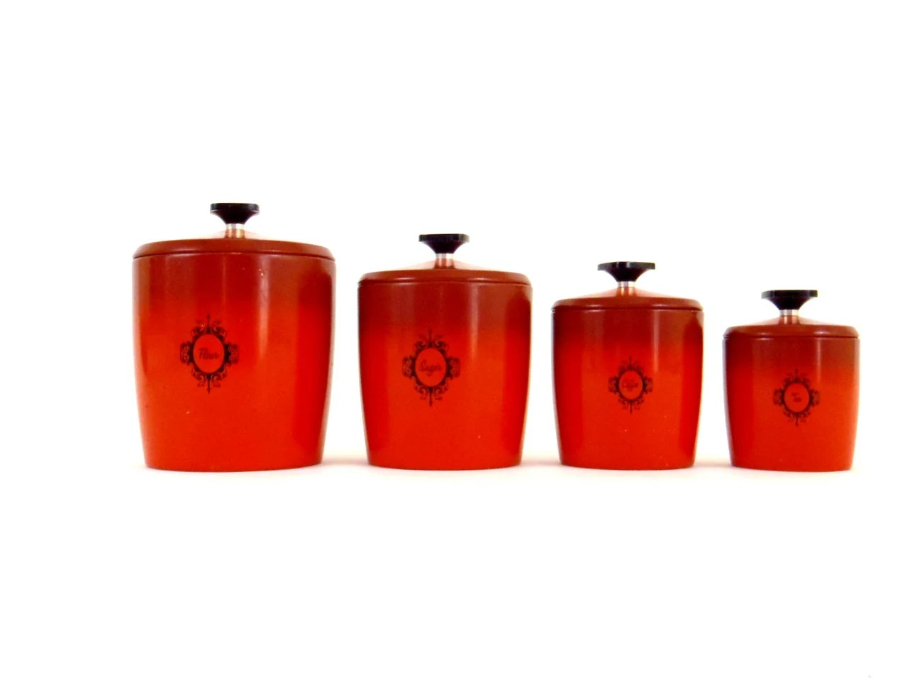 red canister set for kitchen leather chairs jar metal