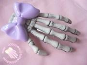 lilac skeleton hand hair clip