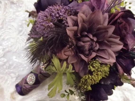 Wedding Bridal Bouquet Plum Puce Aubergine Eggplant Purple