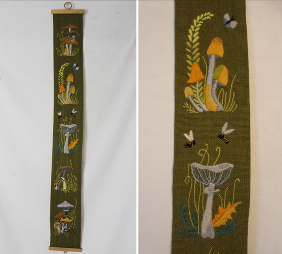 Vintage 1970's Hand Embroidered Mushroom Wall Hanging in Olive Green