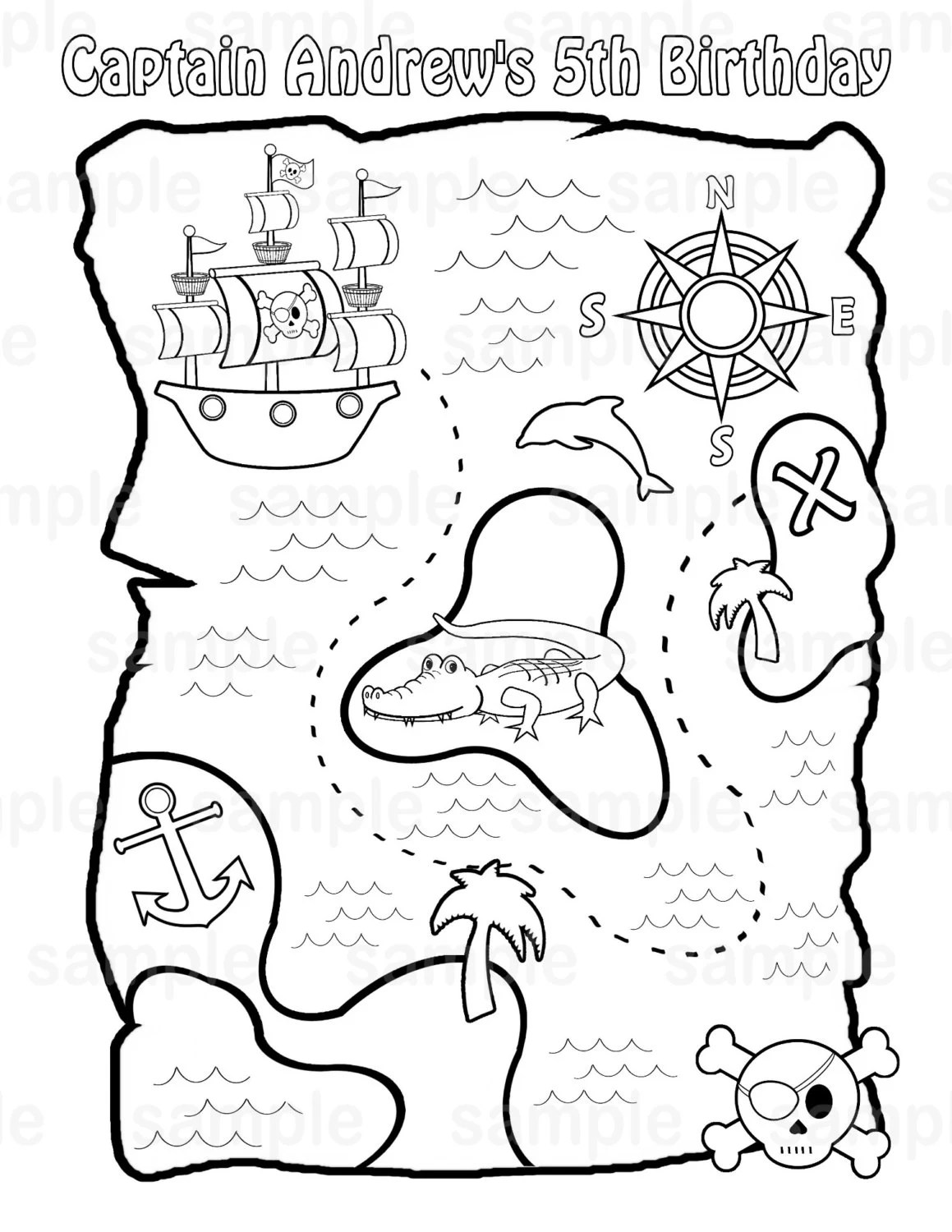 Personalized Printable Pirate Treasure Map Birthday Party
