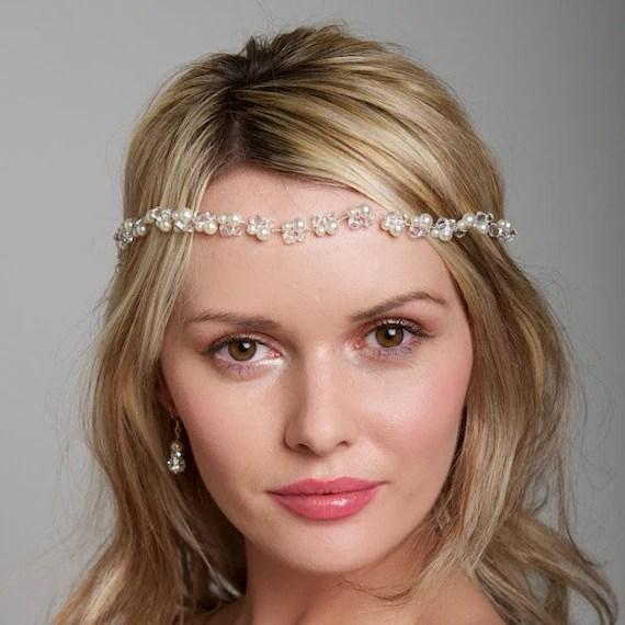 Items Similar To Bridal Boho Headband Pearl Hairvine