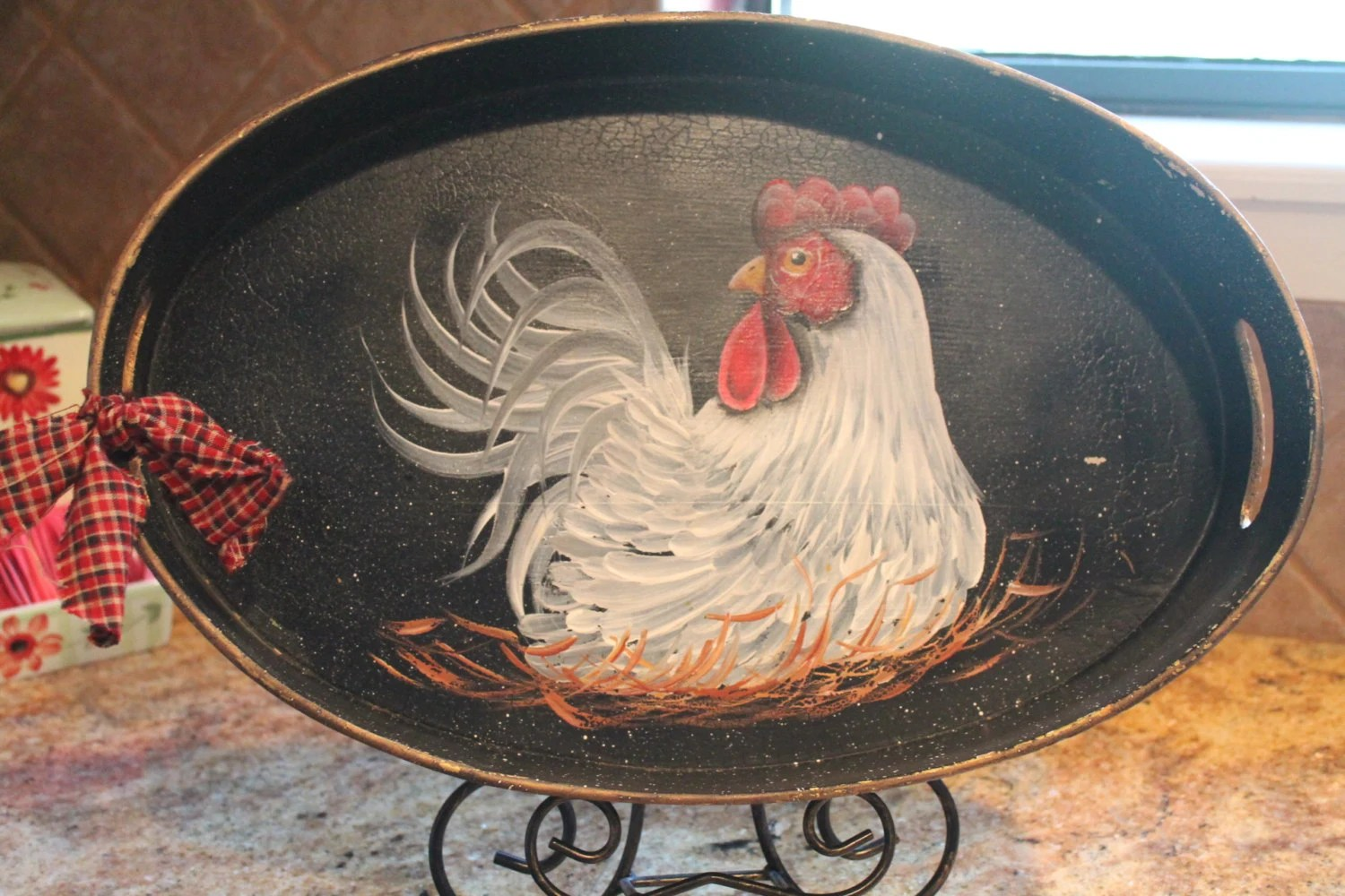 Rooster Hand Painted Wood Oval TrayChicken