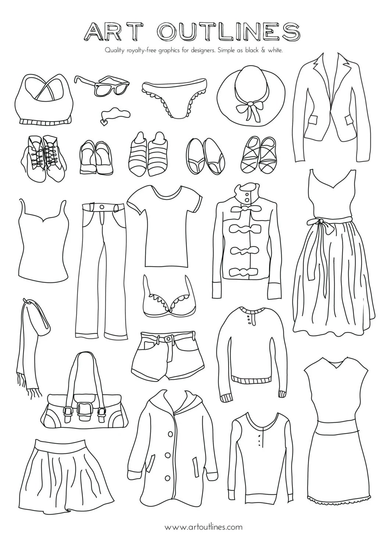 Set of Women's Clothing Illustrations 25 Original Hand