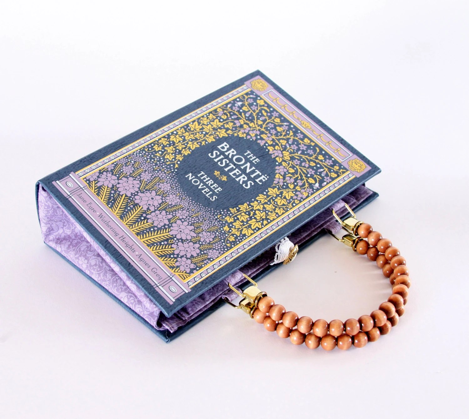 The Bronte Sisters Book Purse Handbag and Kindle Ereader Cover (with compact pocket mirror)