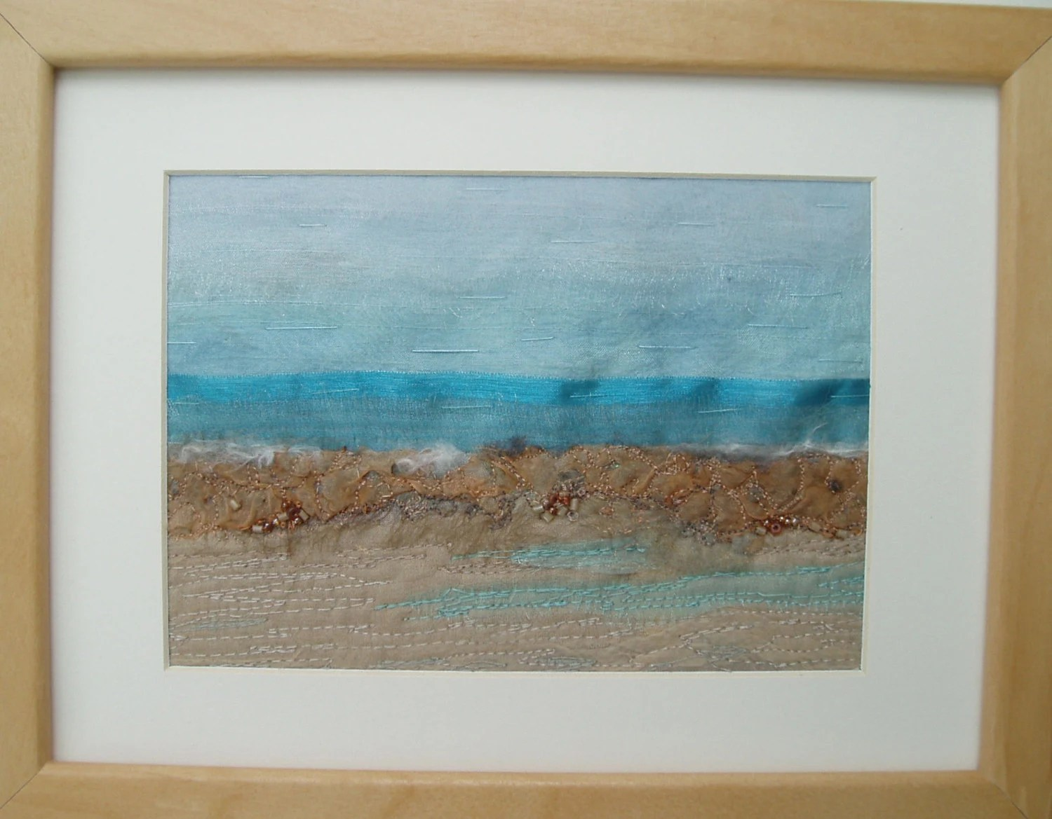 "TEXTILE ART SEASCAPE fabric picture fiber art textile ""Ocean View"""