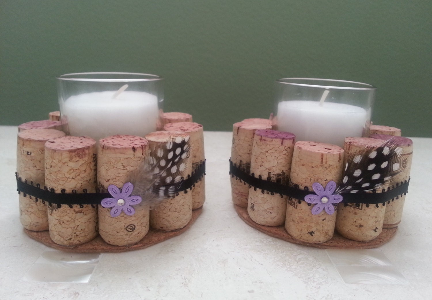 Wine Cork Candle Holders With Flower & By TheKinneryKollection