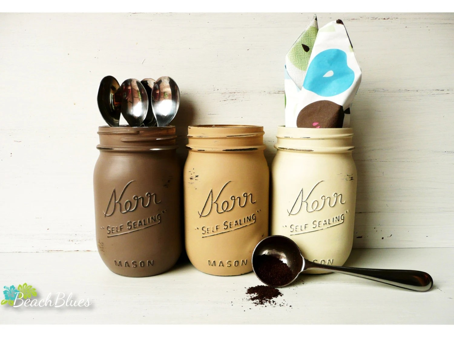 Cafe - Coffee and Tea Canisters - Painted Mason Jars - Home and Kitchen Decor - Rustic - BeachBlues