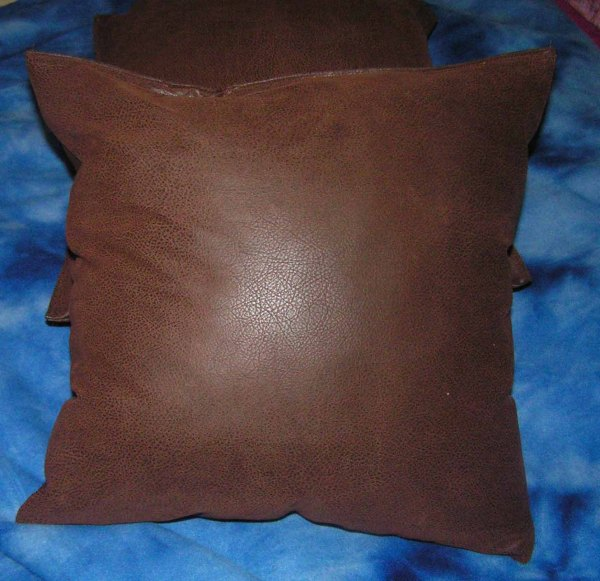 2 Brown Faux Leather Throw Pillow Covers Insert