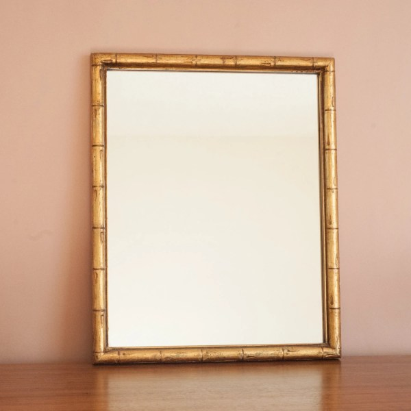 Gold Faux Bamboo Wall Mirror Chinoiserie Hollywood Regency