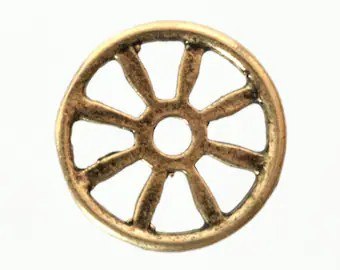 10 Wheel Castings 13mm Wheel Charms , Steampunk Wheel, Small Metal