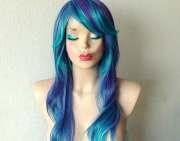 blue purple wig. long curly wavy