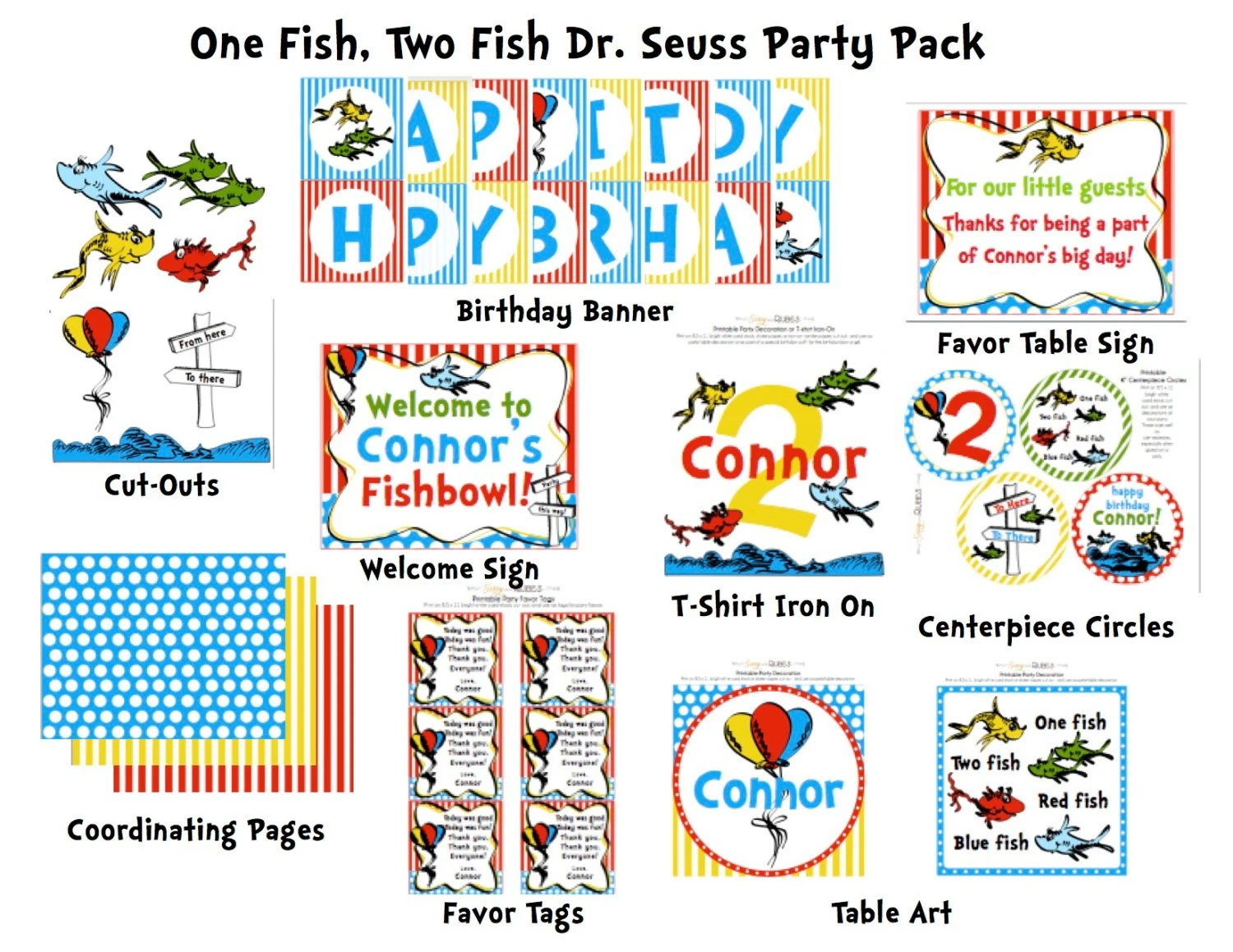 One Fish Birthday Party Pack Cupcake Toppers By Sissyandrubes
