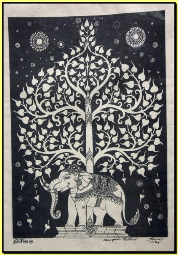 Thai Traditional Art Of Bodhi Tree Silkscreen Printing