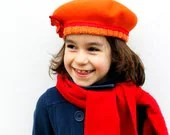 SALE 25% Orange beret with flower, Girls beret orange with red, Kids winter hat with orange and red - RedPepperHats