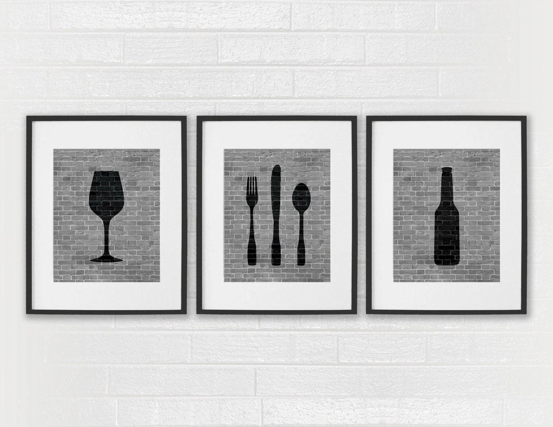 Modern Dining Room Art Prints Black Amp White Kitchen Beer