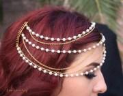 bridal 3 tier gold chain pearl
