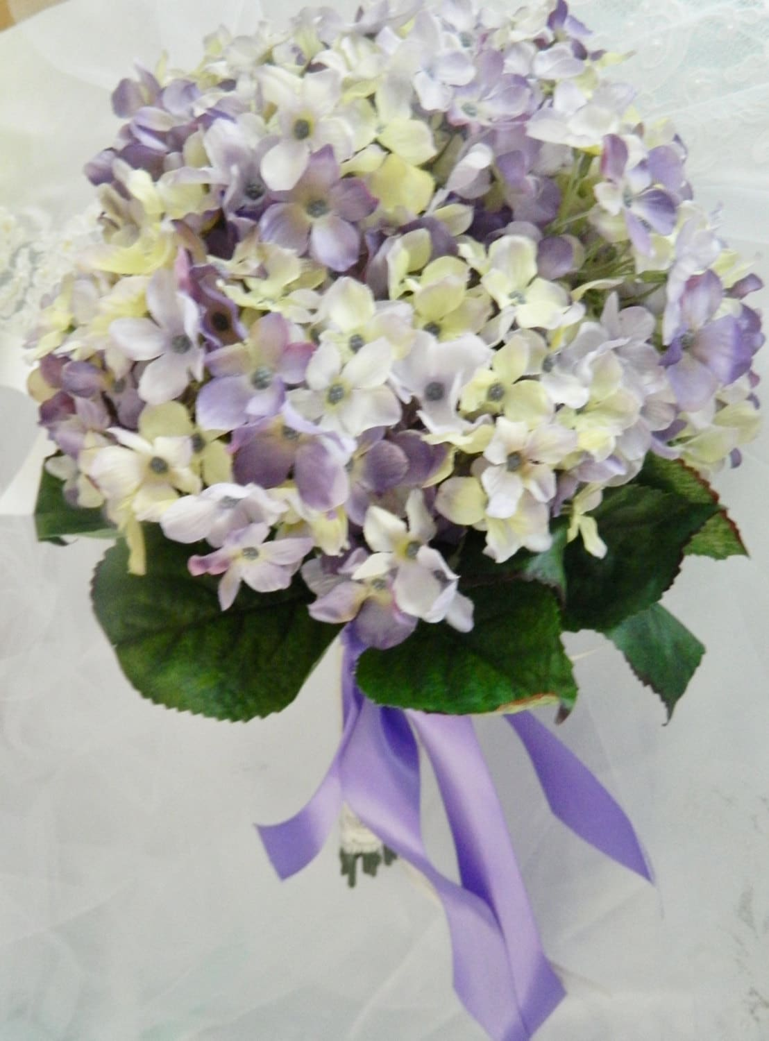 WEDDING BRIDAL BOUQUET Yellow And Lavender Hydrangea Flowers