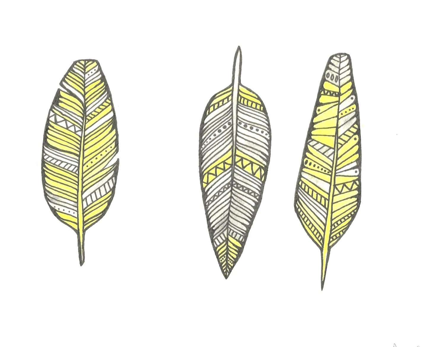Yellow and Soft Grey Feather Watercolour- Original- Free UK Delivery - FeatherAndSixpence