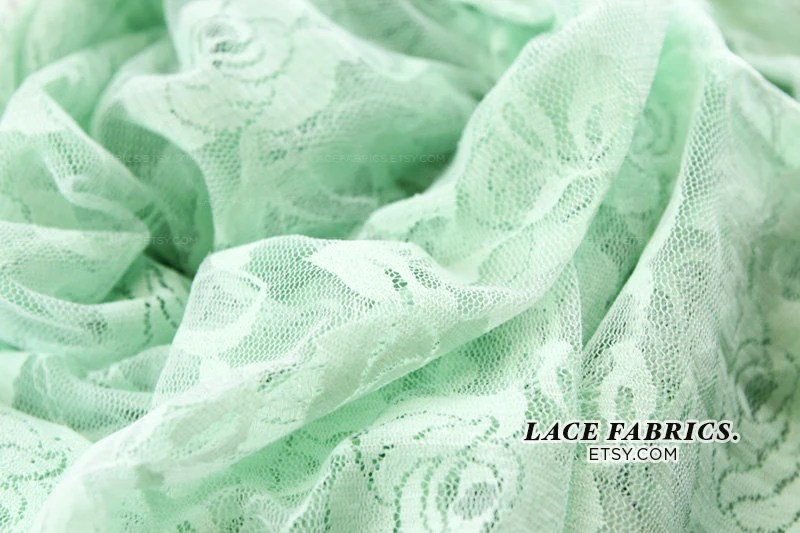 Stretch Lace Fabric by the Yard, MINT GREEN Wedding Lace Fabric, Bridal Lace Fabric  1 Yard style 216 - LaceFabrics