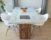 Custom Concrete and Wood Modern Rustic Dining Table - RusticTrombone