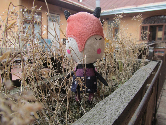 SPRING Primitive doll Foxy 2. Animal Fox. Spring celebrations. Rag stuffed cloth art doll